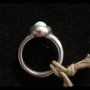 UNO de 50 Jewelry - UNOde50 Ego Silver Ring Swarovski Turq Pearl Sz M